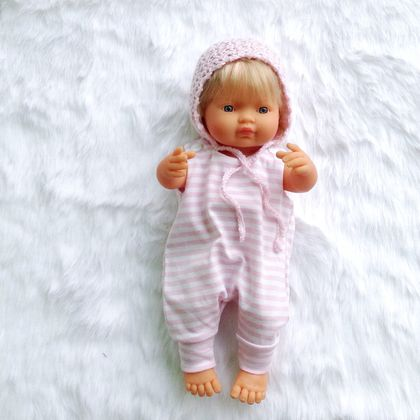 Miniland Unisex Doll clothing Knit Fabric Romper and Bonnet