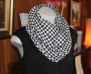 Black & White Houndstooth Cowl or Loop Scarf