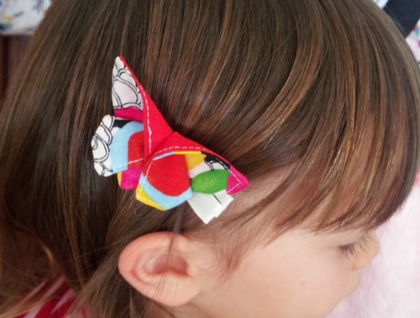 """New ORIGAMI Butterfly Hair Clip """"Magic Garden & Red"""""""