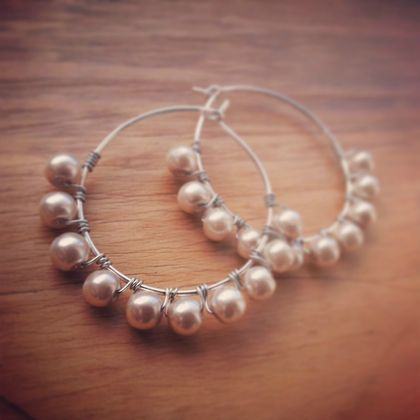 Ivory Pearl Wire Wrapped Hoop Earrings