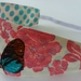 """Reversible Fabric Headband """"Pink flower with butterfly"""""""