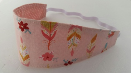 "Reversible Fabric Headband ""Cherry Blossom with Feather"""