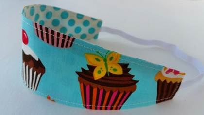 "Reversible Fabric Headband ""Cup Cake Lover blue"""
