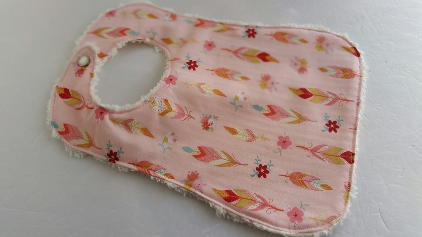 """Chenille Baby Bib """"Cherry Blossom with Feather"""""""