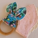 """Natural & Wooden Teething Ring with fabric replacement """"Peace Flower in Marine"""""""