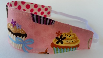 "Reversible Fabric Headband ""Cup Cake Lover"""
