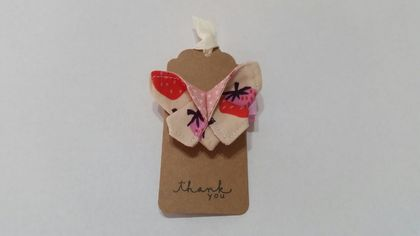 "ORIGAMI Butterfly Hair Clip ""Strawberry lover"""