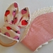 "Natural & Wooden Teething Ring with fabric replacement ""Strawberry Lover"""