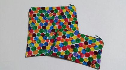 "Reusable Sandwich & Snack Bag Set ""The Very Hungry Caterpillar Abstract Dots"""
