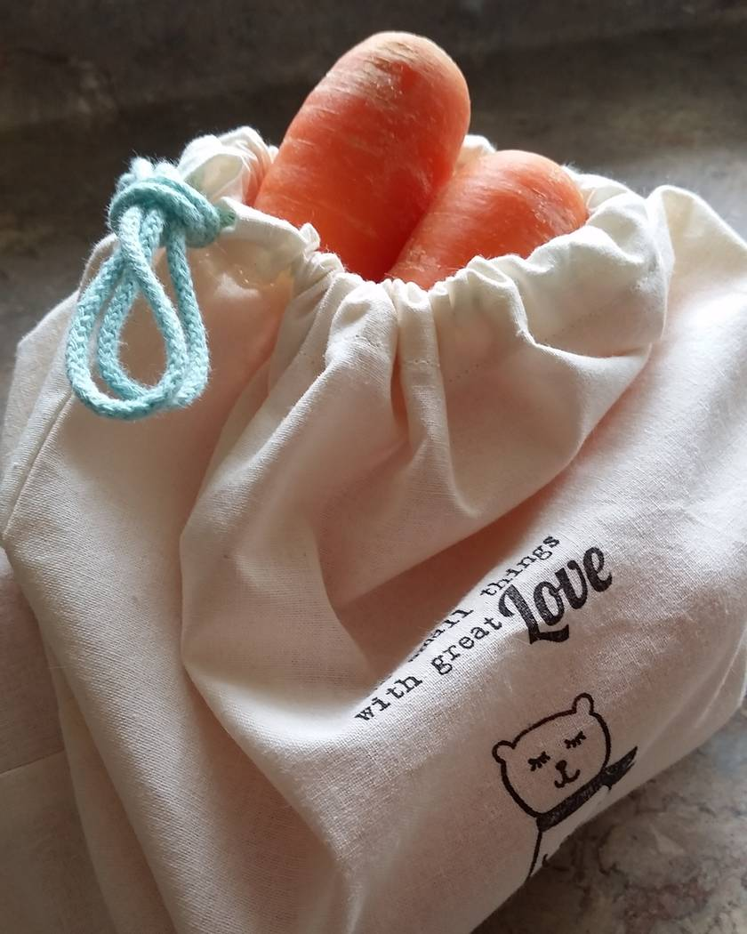 Reusable Organic Cotton Produce Bags Set with toggle