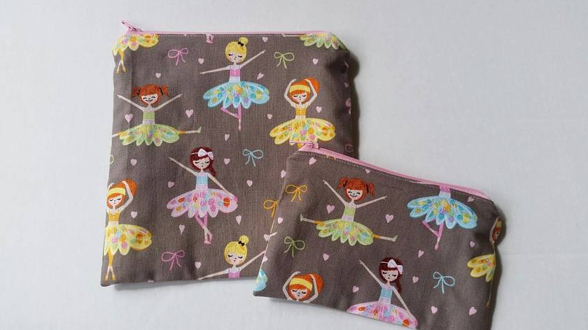 "Reusable Sandwich & Snack Bag Set ""Pretty Ballerina"""
