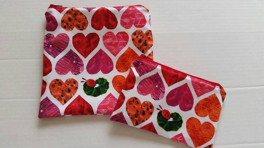 "Reusable Sandwich & Snack Bags Set ""Hungry Caterpillar with Love Heart"""