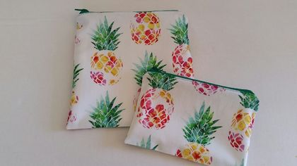 "Reusable Sandwich & Snack Bags Set ""Tropical Pineapples"""