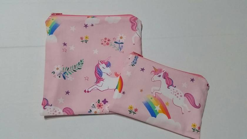 """Reusable Sandwich & Snack Bag Set """"Happy Little Unicorn"""""""