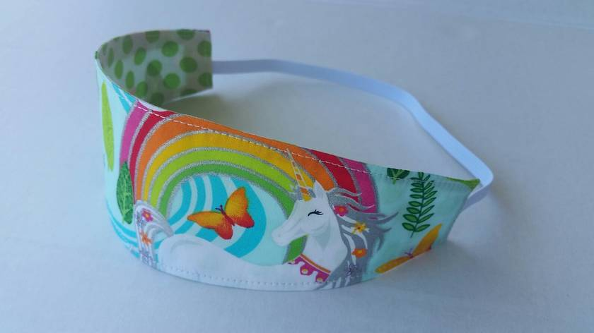 "Reversible Fabric Headband ""Unicorn with Rainbow"""