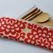 "Bamboo Cutlery Bag ""Lotus Wall Flower & Full Moon Polka Dot"""