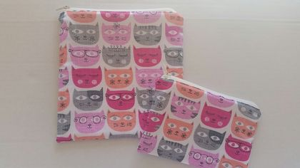 "Reusable Sandwich & Snack Bags Set ""I L♡VE CAT"""