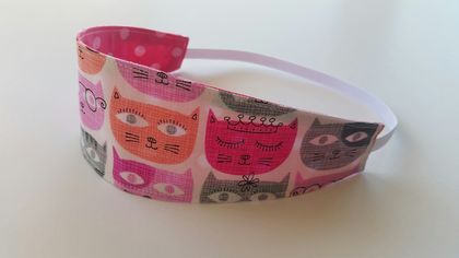"Reversible Fabric Headband ""Sweet Cats"""