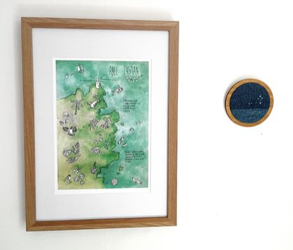 Abel Tasman NZ illustrated map print