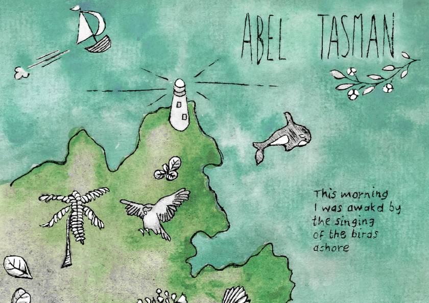 Abel Tasman NZ illustrated map print