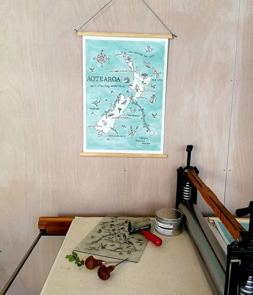 Aotearoa NZ wildlife illustrated poster, vinyl canvas banner