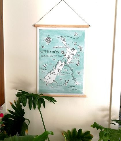 Aotearoa NZ wildlife illustrated poster, vinyl canvas banner