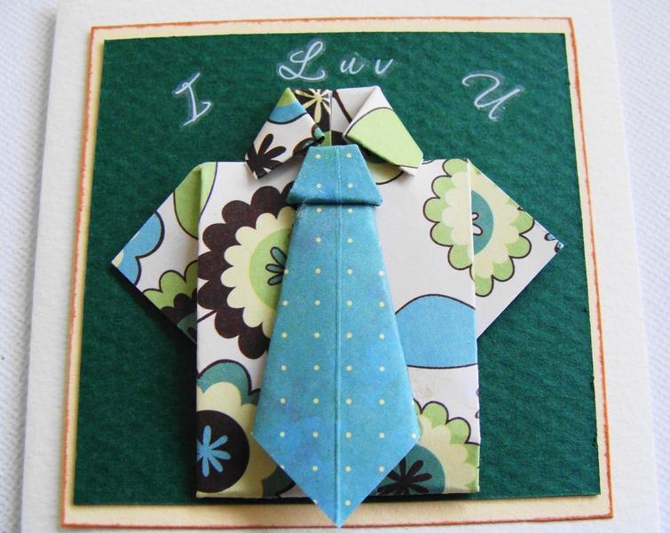 mens gift card  u0026quot  i luv u u0026quot  origami gift card mini shirt and