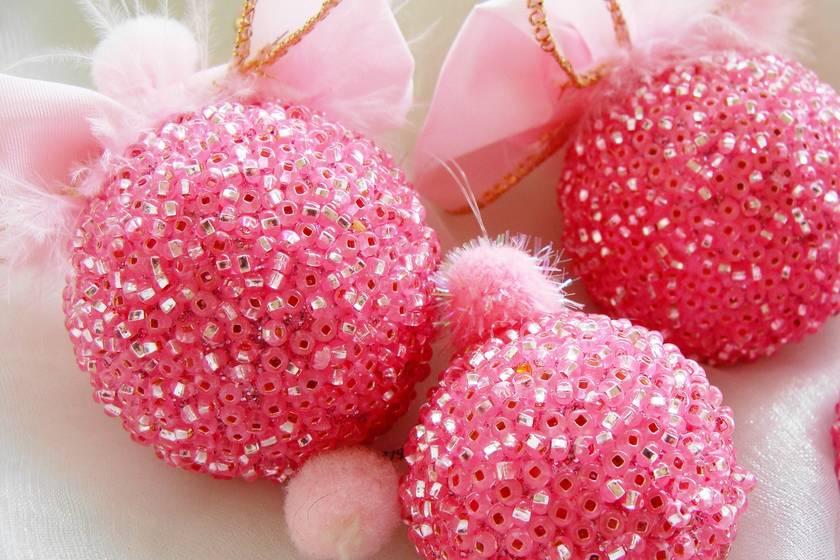 Pink Christmas Ornaments.Pink Christmas Ornaments Pink Christmas Decoration Rose Colored Ornaments Beaded Ornaments Christmas Bauble
