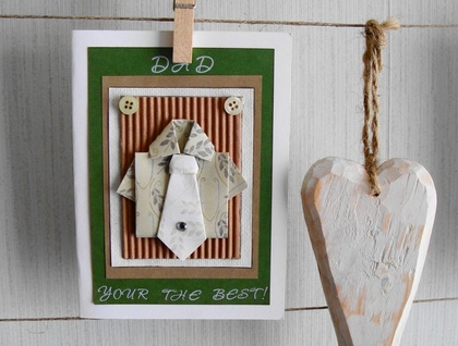 Fathers Day Card Mens Gift Card Dad Origami Shirt And Tie Felt