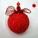 Red Christmas Ornaments, Red Beaded Christmas Decoration, Beaded Ornaments, Christmas Bauble, Baubles