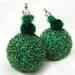 Green Beaded Christmas Decoration,Set of 2 Christmas Ornaments, Beaded Ornaments, Christmas Bauble, Ball Ornament