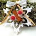 Snow Flake Rustic, Felt with a touch of Cinnamon, White snowflake, Christmas ornament, Gift topper, Red Berries