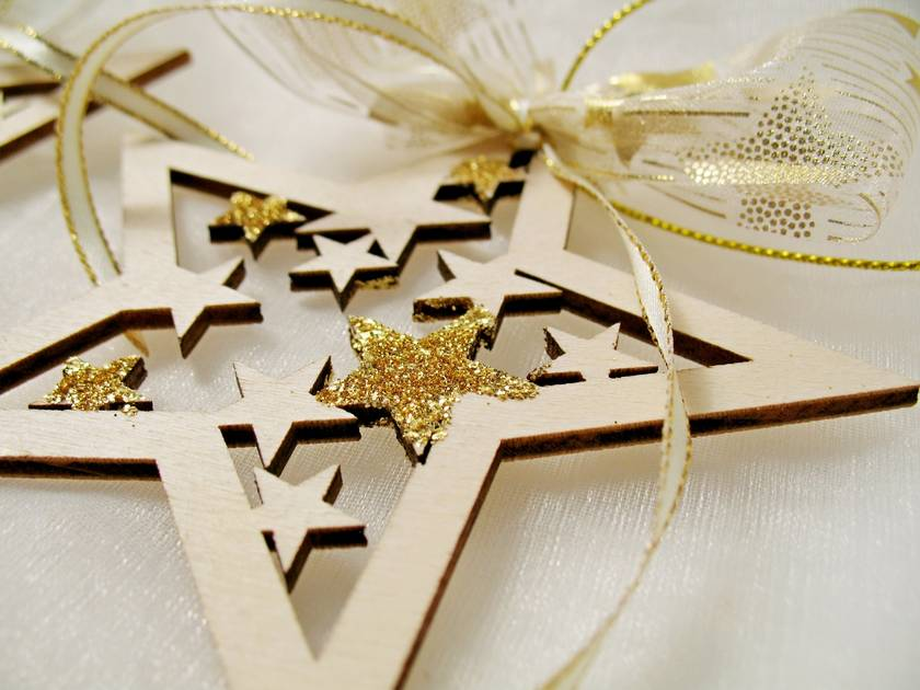 Christmas Star Ornaments, Laser Cut Wood Stars, Christmas