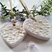 White Clay Heart Ornaments , Heart tag , Christmas Ornament, House decoration, gift tag