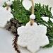 White Snowflake Ornaments , Clay Snowflakes, Snowflake Tag , Christmas Ornaments, gift tag, Set of 6