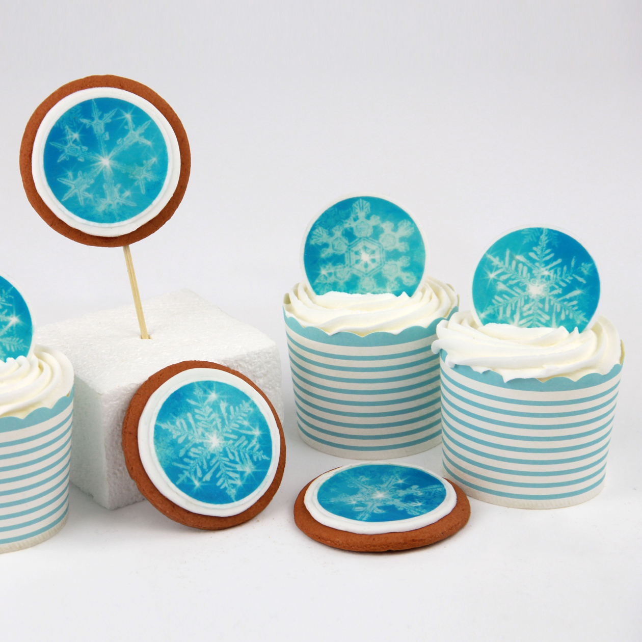Christmas frozen snowflake edible wafer paper cake ...