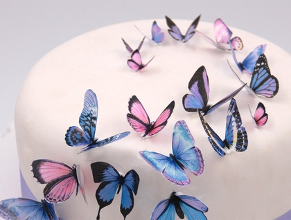 Edible wafer paper purple butterflies