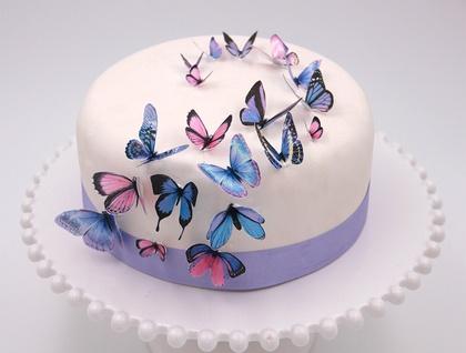 Edible wafer paper purple butterflies