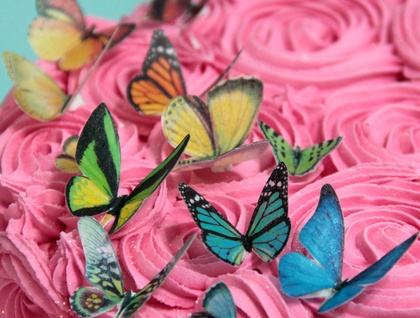 Edible wafer paper butterflies
