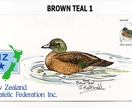 NZ Brown Teal embellished stamp cover