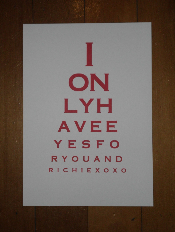 Eye Chart Art I Only Have Eyes For You And Richie Felt