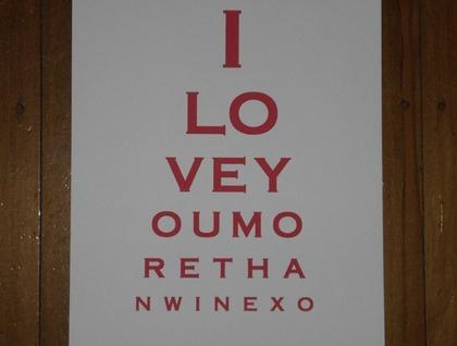 Eye Chart Art I Love You More Than Wine Felt