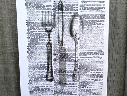 Vintage Dictionary Print - Knife, Fork, Spoon Cutlery Set