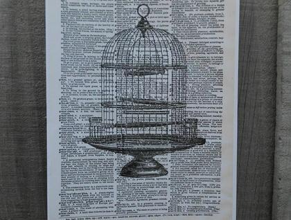 Vintage Dictionary Print - Birdcage, 3 Designs