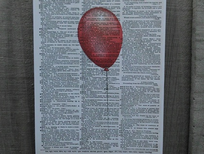 Vintage Dictionary Print - Red Balloon