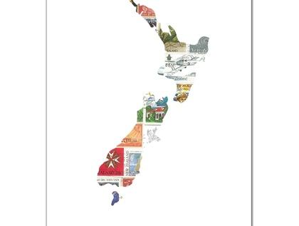 New Zealand Map Stamp Art