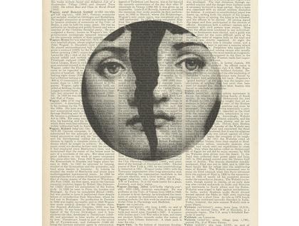 Vintage Dictionary Print - Fornasetti Broken Face