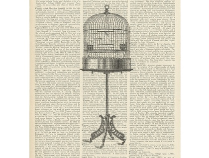 Vintage Dictionary Print - Birdcage on a Stand