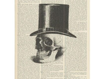 Vintage Dictionary Print - Top Hat Skull