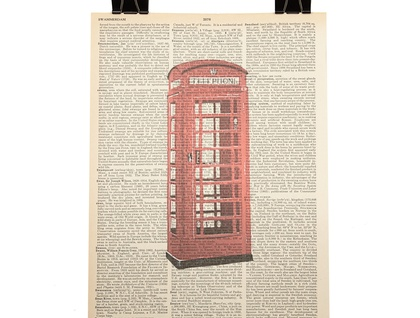 Vintage Dictionary Print - Red Telephone Box